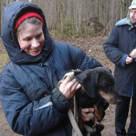 Марина Полякова и Чемпион Чемпионов 2006 Вилюй, обратите внимание, собака выступала с травмой носа, полученной накануне